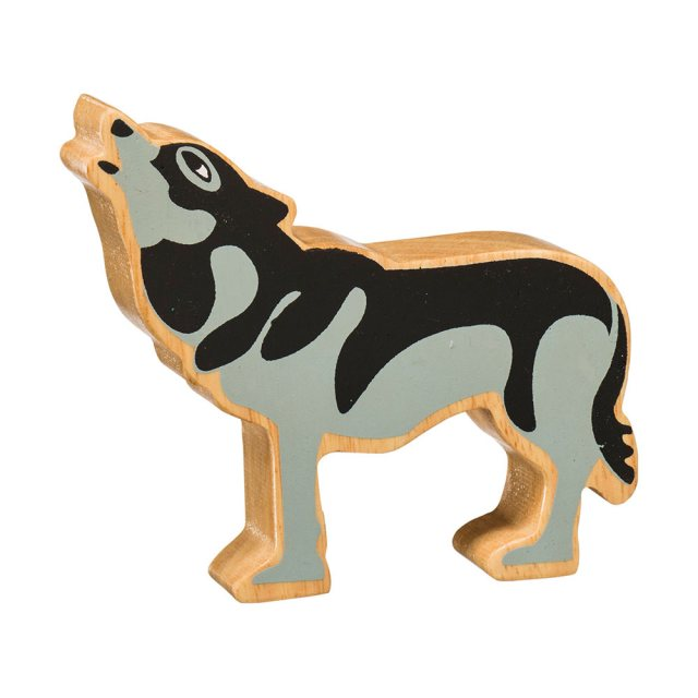 A chunky wooden painted grey/black wolf toy figure in profile with a natural wood edge