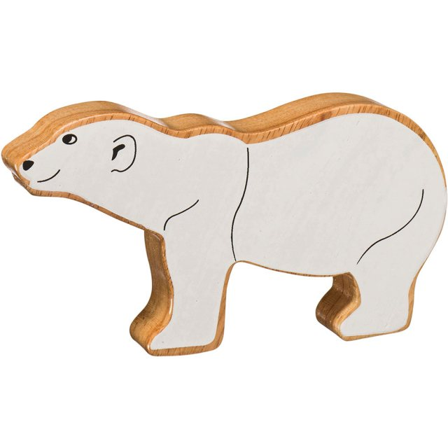 A chunky wooden painted white polar bear toy figure in profile with a natural wood edge
