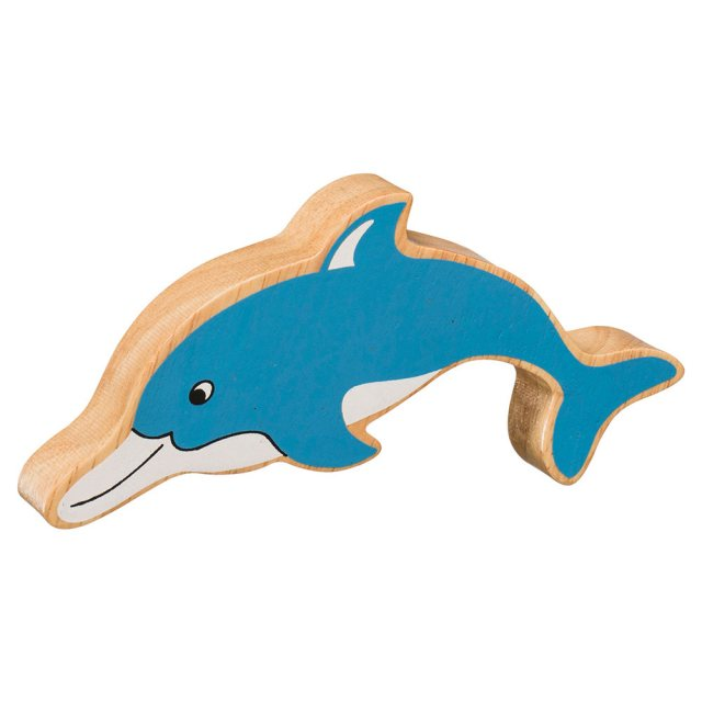 A chunky wooden painted blue dolphin toy figure in profile with a natural wood edge