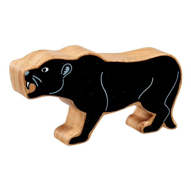 A chunky wooden painted black panther toy figure in profile with natural wood edge