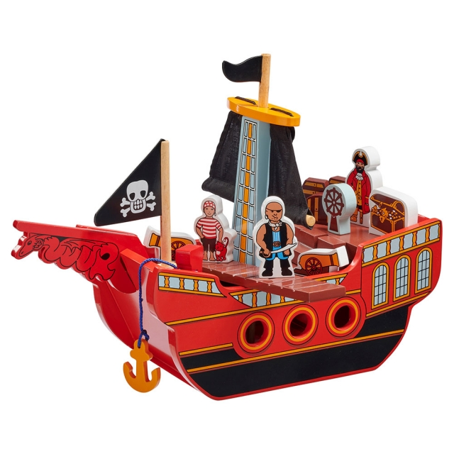 Red wooden Pirate ship 3 pirates and 11 accessories including anchor, barrels, plank and treasure