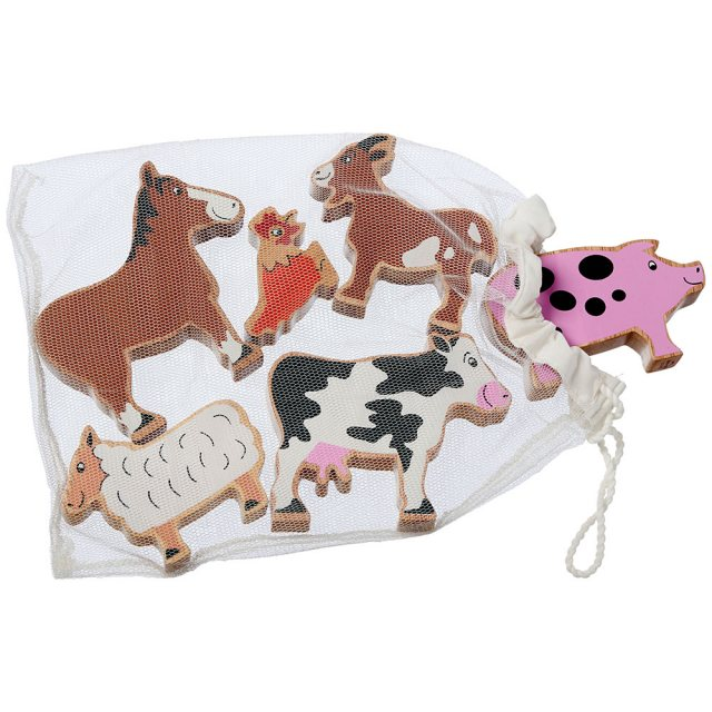Set of six colourful wooden farm animals including chicken, horse and cow in a net bag