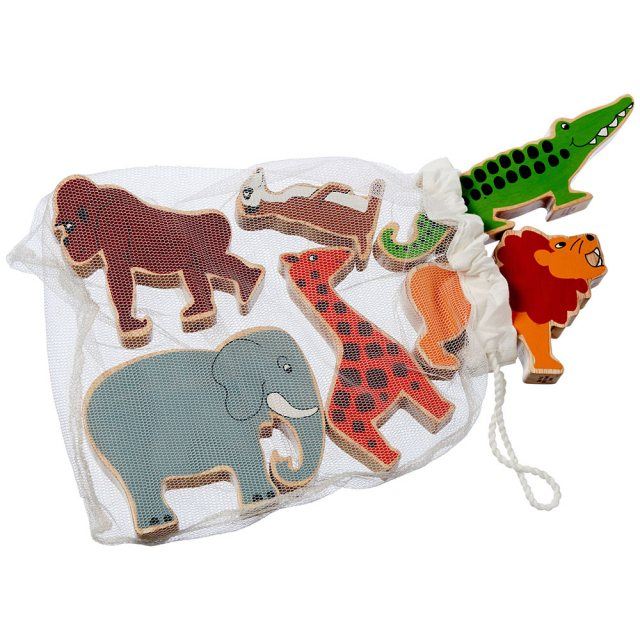 Set of six colourful wooden world animals including elephant, lion and crocodile in a net bag