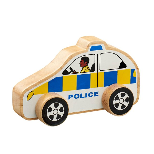 Chunky, wooden white police toy car with painted police officer and natural wood edge