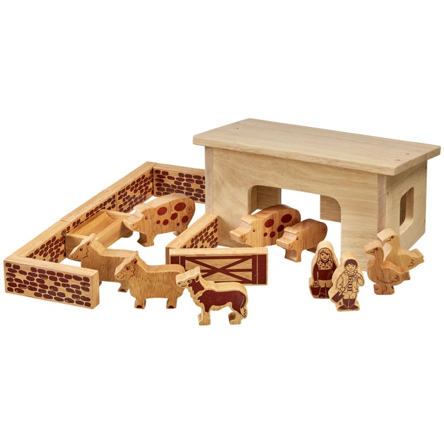 Natural wood smaller barn building with farm animals, people, walls, fences and gates; 18 in total