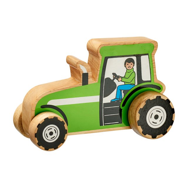 Chunky, wooden green farm tractor toy car with painted farmer driver and natural wood edge