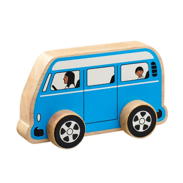 Chunky, wooden blue camper van toy car with painted driver and passengers and natural wood edge