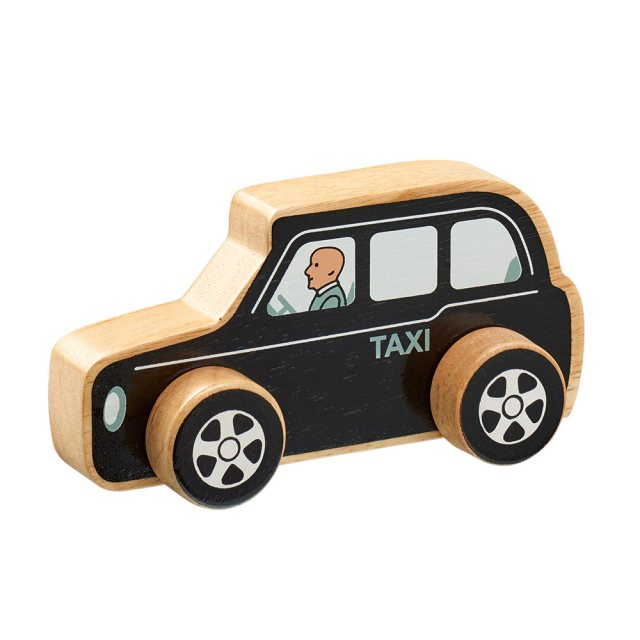 Chunky, wooden black taxi cab toy car with painted taxi driver and natural wood edge