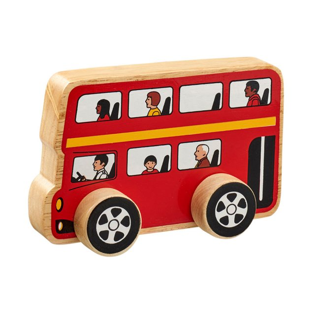 Chunky, wooden red double decker bus toy car with multi cultural passengers and natural wood edge