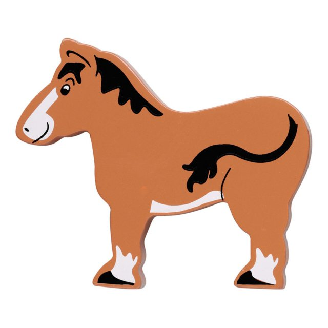A brown horse with black mane wooden toy figure in profile