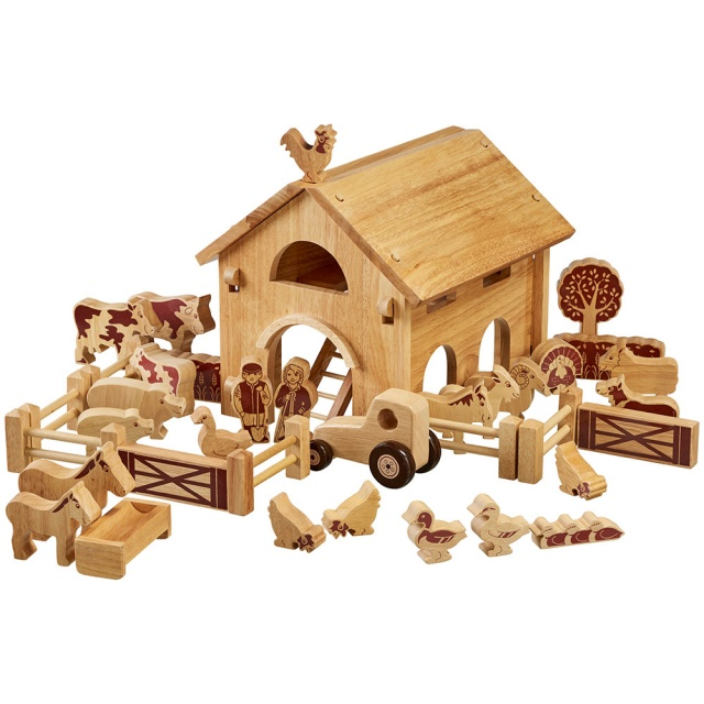 Large natural wood barn building with farm animals, people, walls, fences and hedge, 34 in total