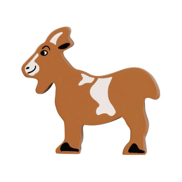 A brown and white goat wooden toy figure in profile