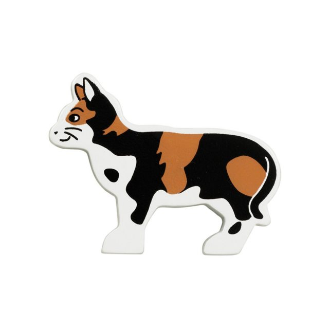 A brown, black and white tabby cat wooden toy figure in profile