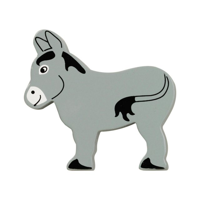 A grey donkey wooden toy figure in profile