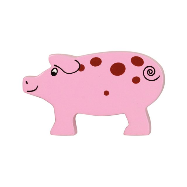 A pink with brown spots piglet wooden toy figure in profile