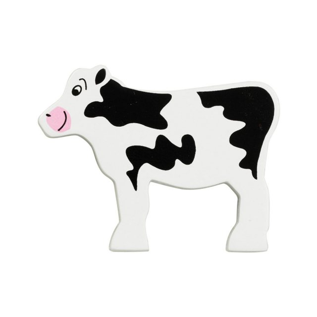 A black and white calf wooden toy figure in profile