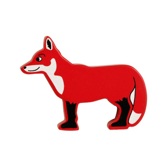 A red and white fox wooden toy figure in profile