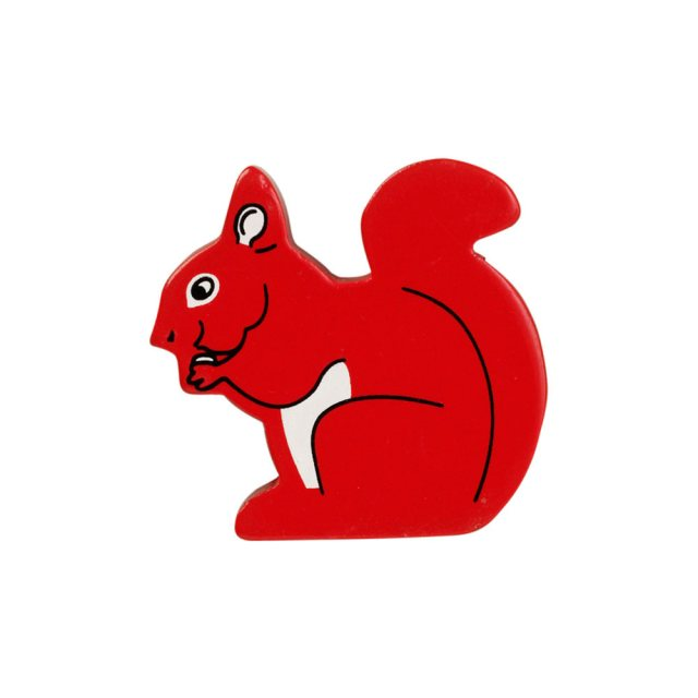 A red squirrel wooden toy figure in profile