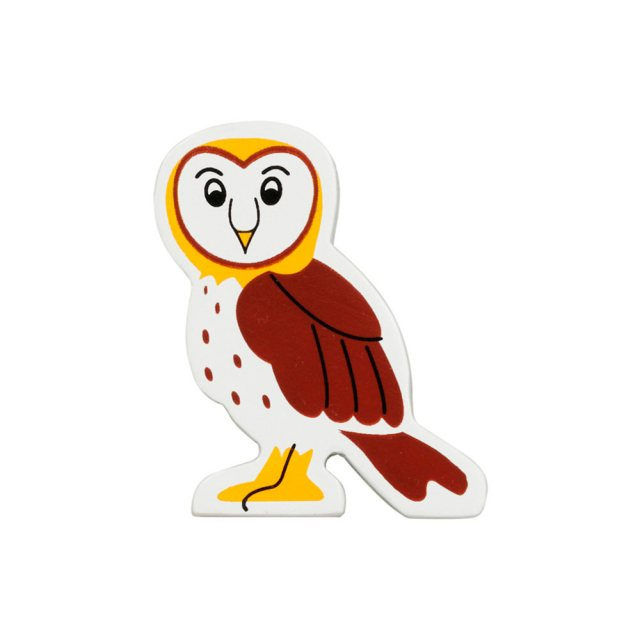 A brown, white and yellow owl wooden toy figure in profile