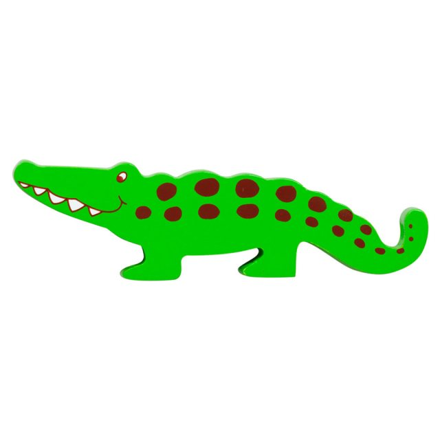 A green with brown spots crocodile wooden toy figure in profile