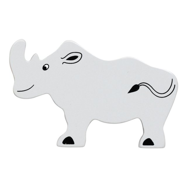 A grey rhinoceros wooden toy figure in profile