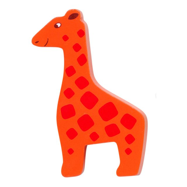 An orange and red spotty giraffe wooden toy figure in profile