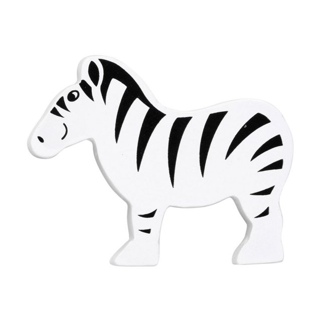 A black and white stripey zebra wooden toy figure in profile