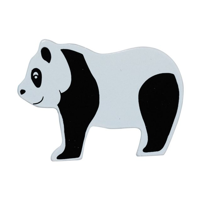 A black and white panda wooden toy figure in profile