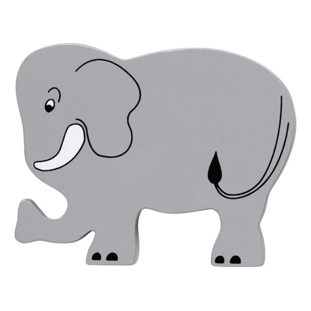 A grey elephant wooden toy figure in profile