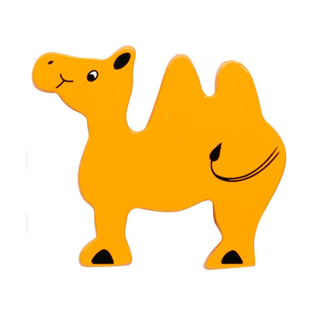 A yellow camel wooden toy figure in profile