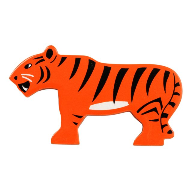 An orange and black stripey tiger wooden toy figure in profile