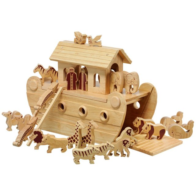 Large natural wood Noah's ark boat with 22 natural animals and Mr and Mrs Noah figurines