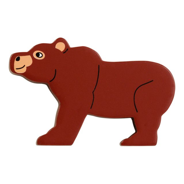 A brown bear wooden toy figure in profile