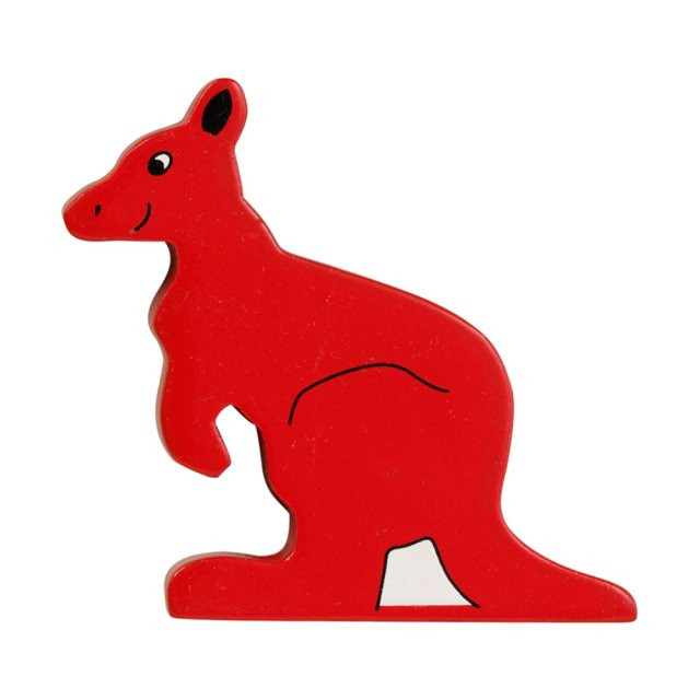 A red kangaroo wooden toy figure in profile