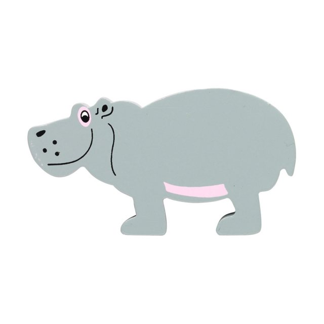 A grey hippo wooden toy figure in profile