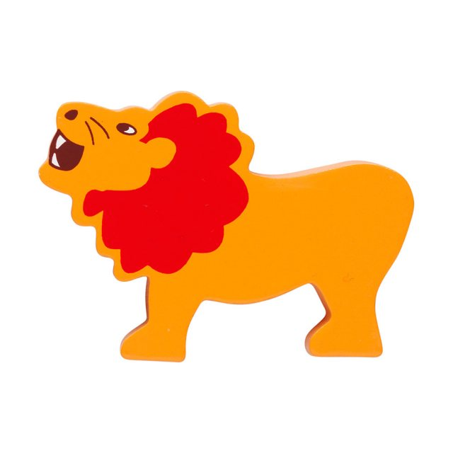 A yellow lion with red mane wooden toy figure in profile