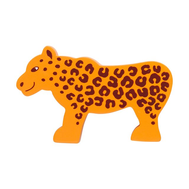 A yellow spotty wooden leopard toy figure in profile