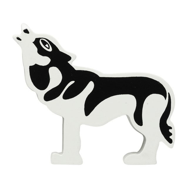 A grey and black wooden wolf toy figure in profile howling to the moon