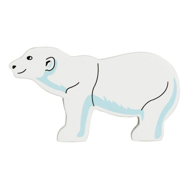 A white wooden polar bear toy figure in profile
