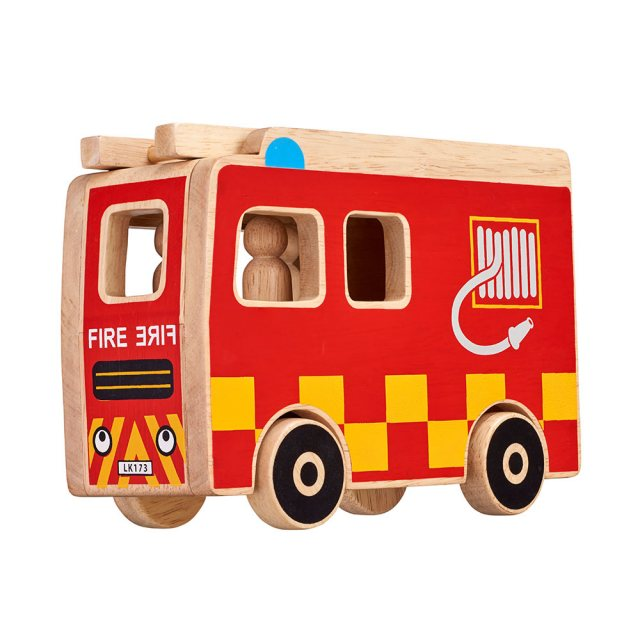 Red/ Yellow wooden fire engine playset with natural wood edge,  ladder and 3 peg firefighters