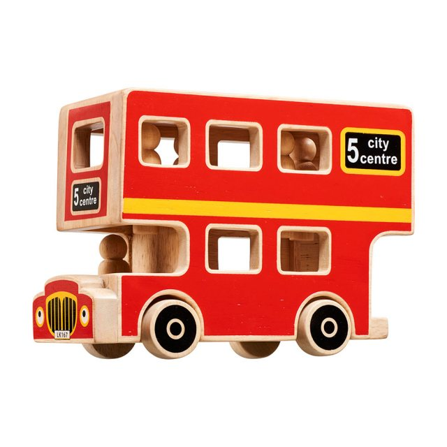 Red wooden double decker bus playset with black wheels, natural wood edge and 5 peg people