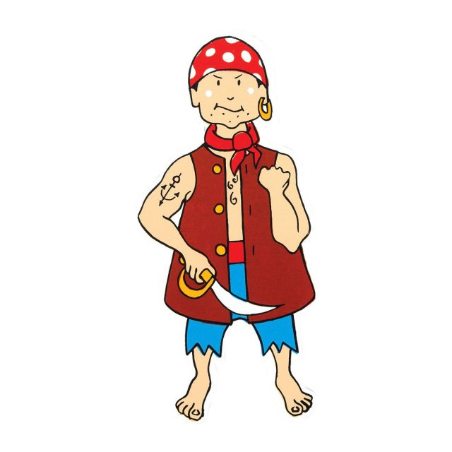 A colourful wooden wall sticker of a pirate in traditional attire with sword