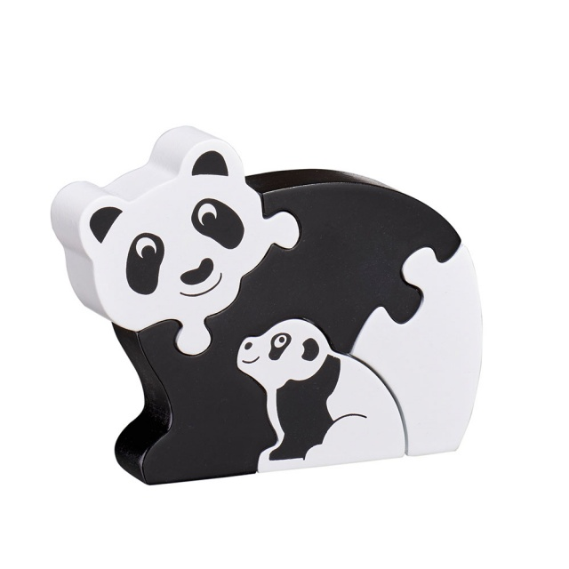 Four piece black/white chunky wooden jigsaw of a panda and cub which stands once complete