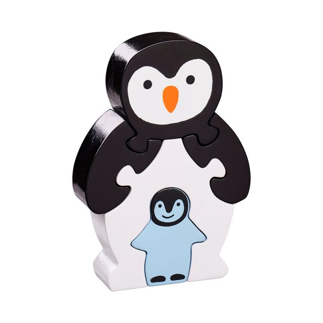 Five piece black/white chunky wooden jigsaw of a penguin and chick which stands once complete