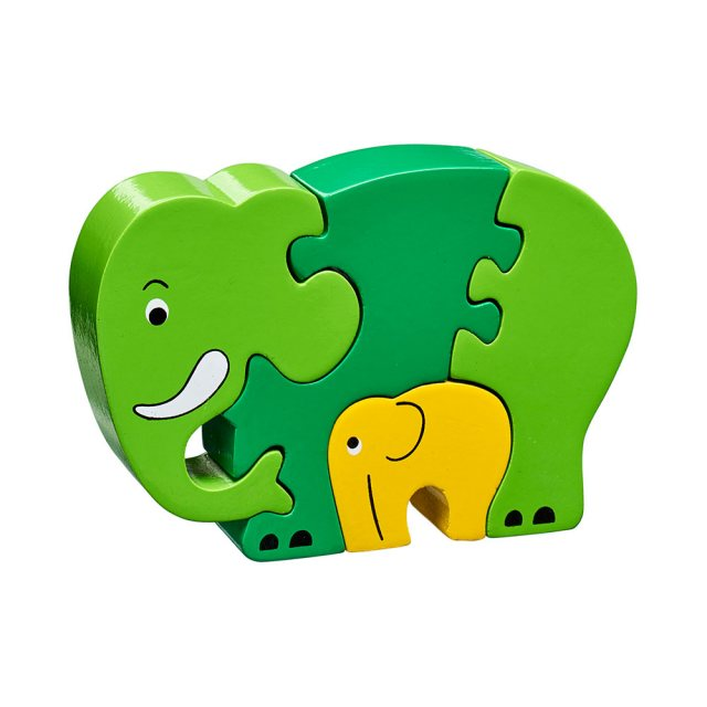 Four piece green/yellow chunky wooden jigsaw of an elephant and calf which stands once complete