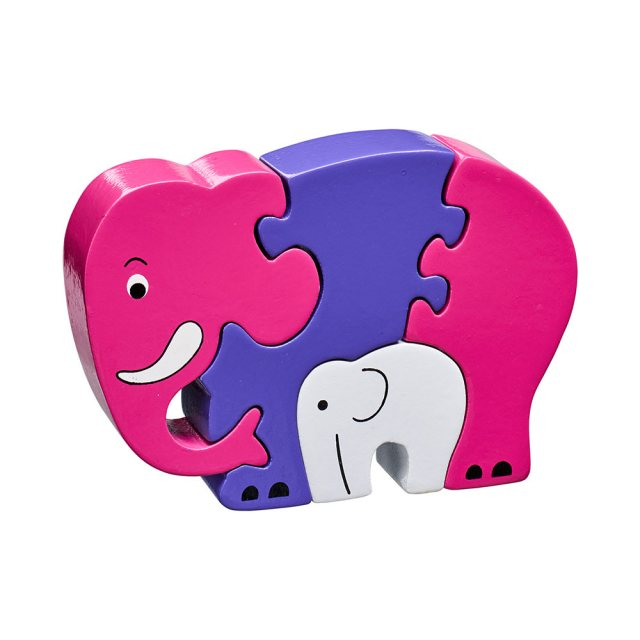 Four piece pink/purple chunky wooden jigsaw of an elephant and calf which stands once complete