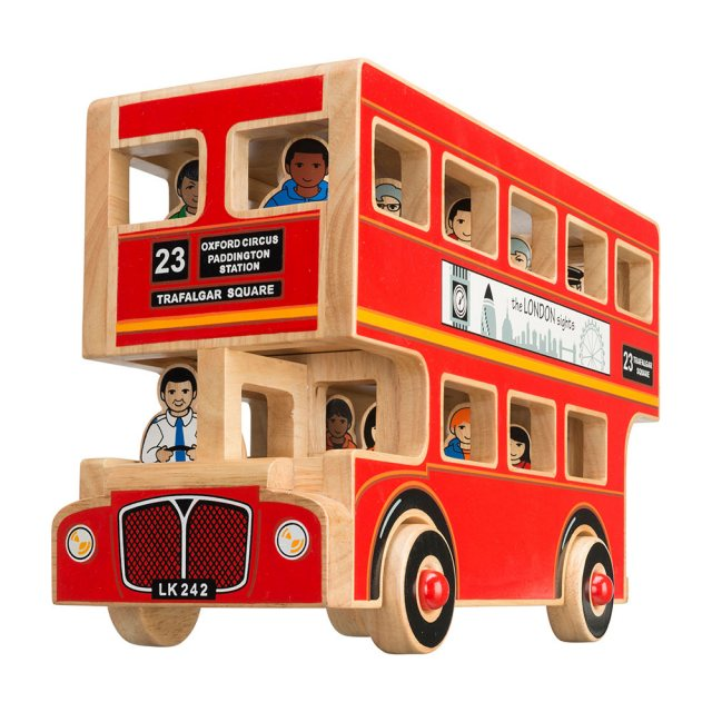 Red wooden double decker bus with cut out windows, 16 multi cultural figurines and removable roof