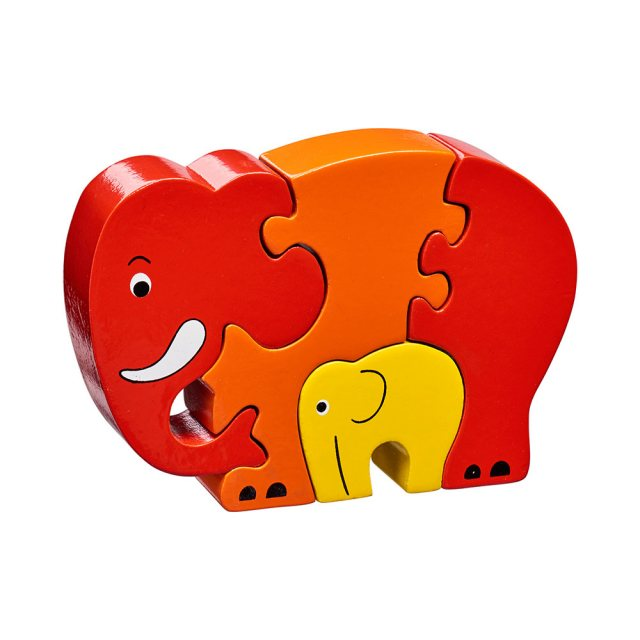 Four piece red/orange chunky wooden jigsaw of an elephant and calf which stands once complete