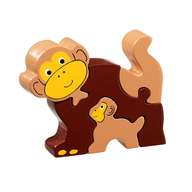 Four piece brown chunky wooden jigsaw of a Monkey and infant chimp which stands once complete