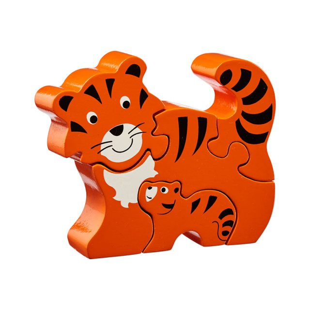 Four piece orange and black chunky wooden jigsaw of Tiger and cub which stands once complete